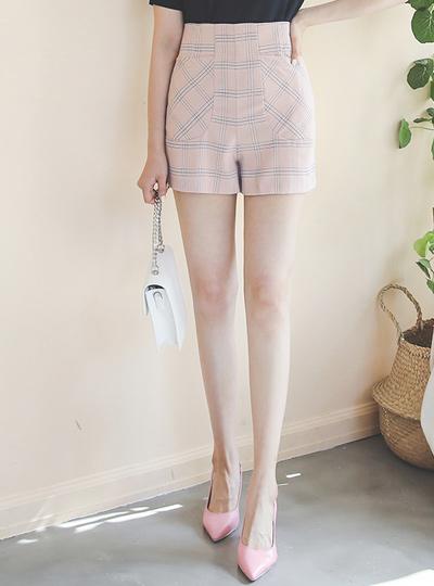 窗式格子高腰5分宽松长裤