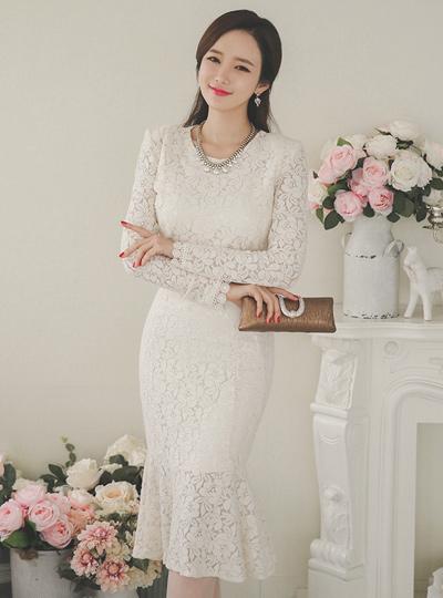 美人鱼婚纱蕾丝连衣裙