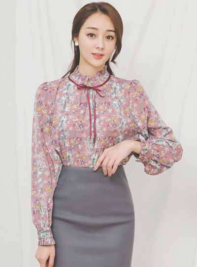 Flower Shirring Signature蝴蝶结女衬衫
