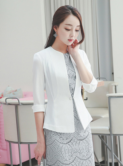 奢华裙珍珠背心褶皱外套(7袖)