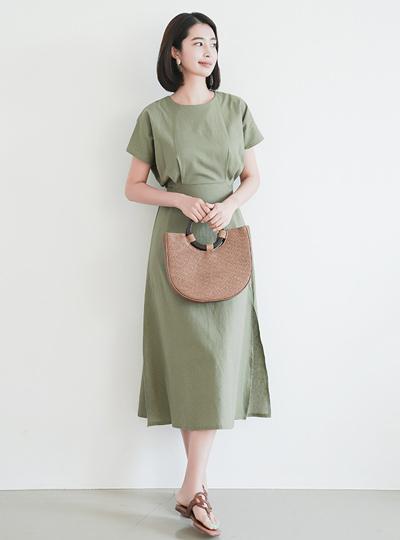 后腰带缝亚麻长款连衣裙