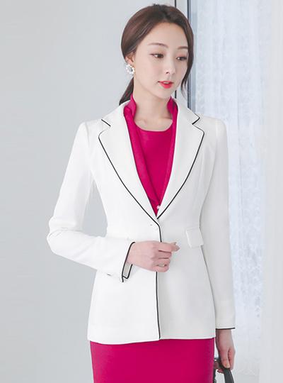侧边线条配色滚边合身定制外套