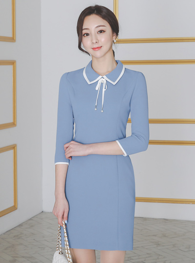 珍珠蝴蝶结 胸针 配色领子 连衣裙