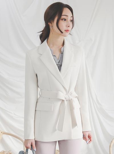 都市扣子袖口束带夹克
