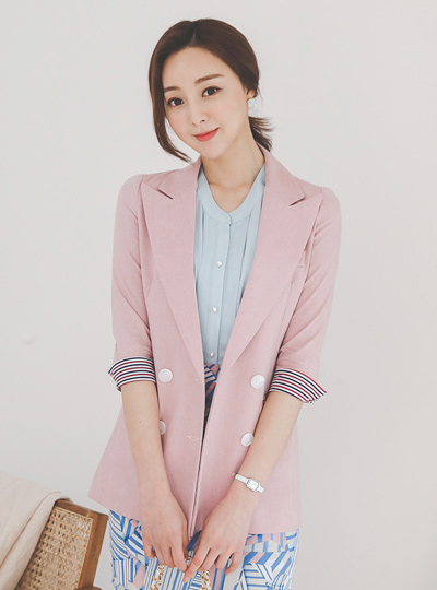 条纹 配色 修身 双 亚麻 夹克