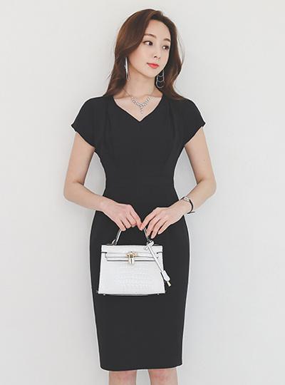 法式 袖子 细褶 修身 弹力 连衣裙