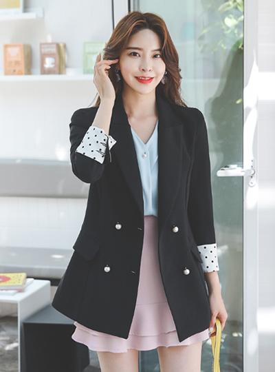 双 珍珠 圆点 衣袖配色 夹克