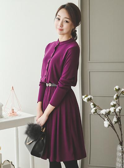 耶拿波浪群/喇叭裙连衣裙