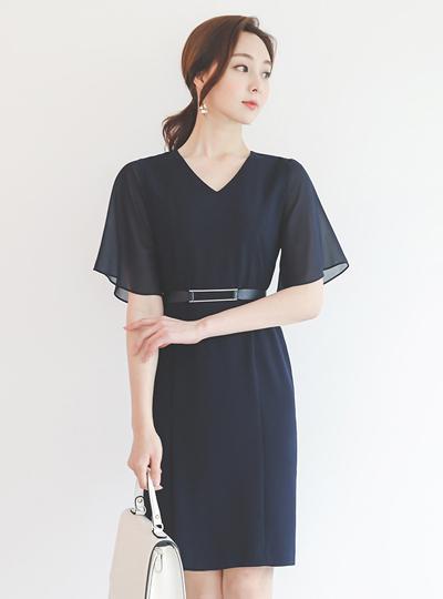 雪纺 飞袖 银条 V字领 连衣裙