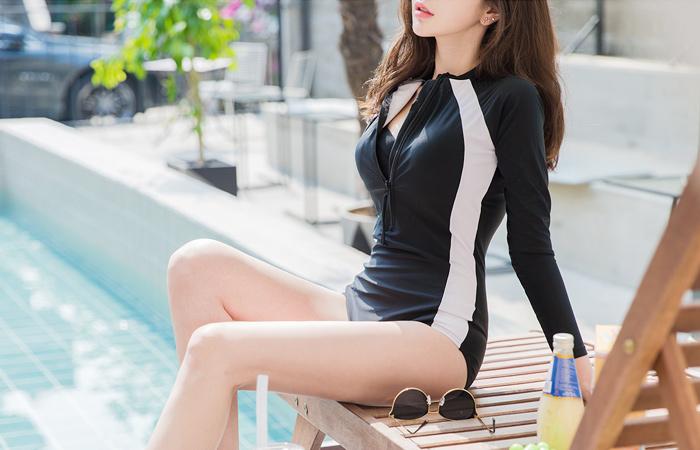 侧边线条 짚업 래쉬가드(胸花&文胸SET)