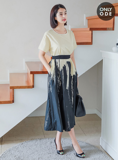 单色印花腰带长款连衣裙