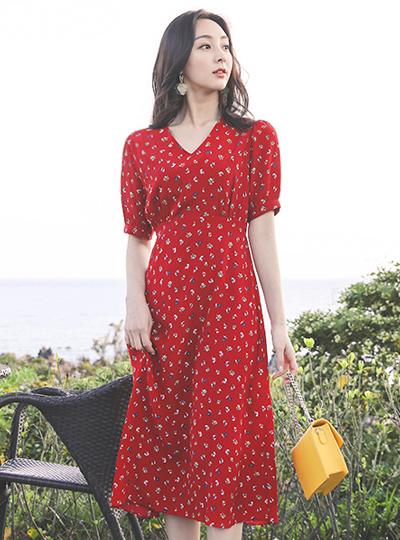 郁金香 花纹 褶皱 泡泡袖 长款 连衣裙