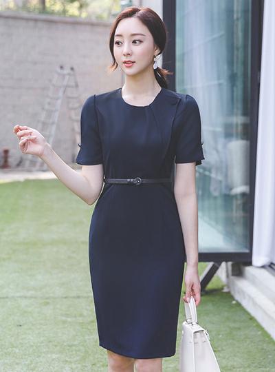 不规则 悬垂式 泡泡袖 束带 连衣裙