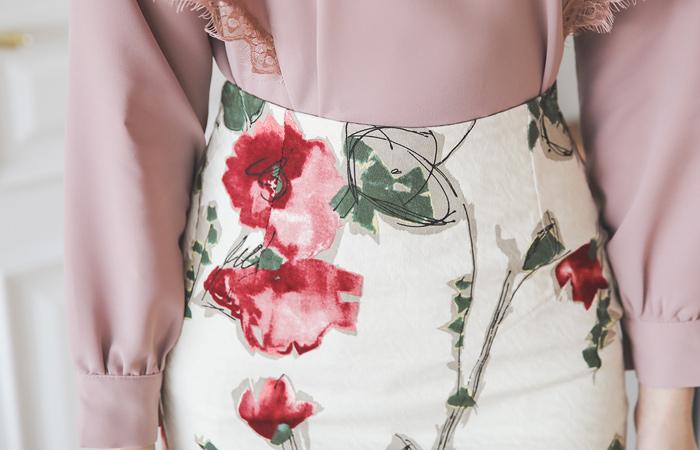 素描提花棉弹力裙子