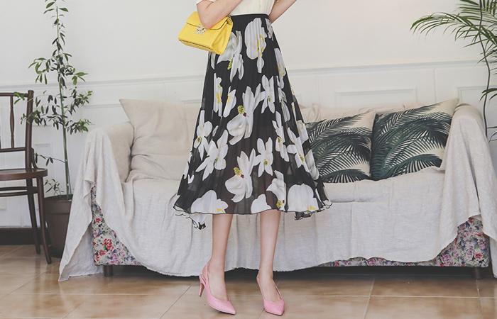 褶边 花纹 印染 松紧带 长款 裙子
