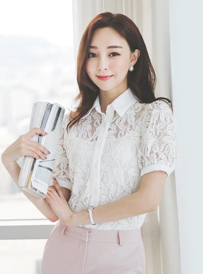 花纹 蕾丝 棉 半袖 罩衫