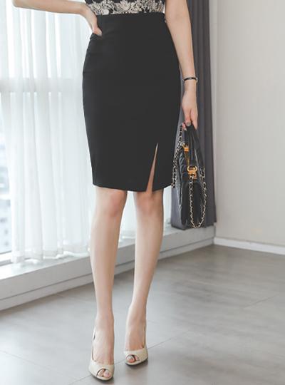 简单 侧纽 开衩 H字型 弹力 裙子