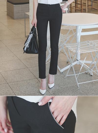 亚麻质地颜色口袋宽松长裤