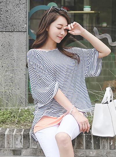 巴厘岛条纹宽松Ť恤衫