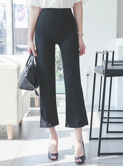 Pin tuck shoe type bending span宽松长裤