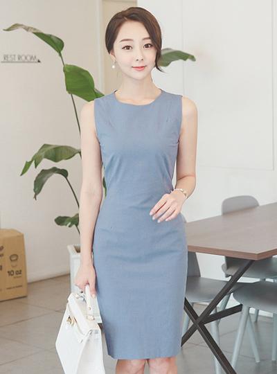 干亚麻棉袖袖连衣裙