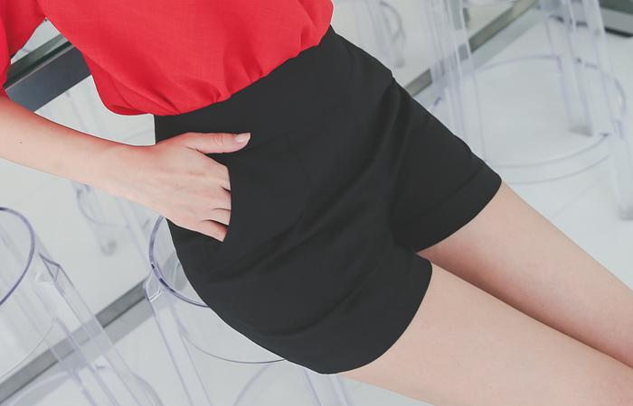 简单高腰麻麻短裤