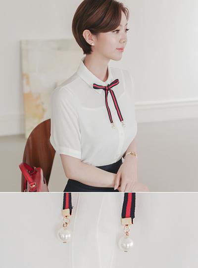 水手珍珠丝带领带女人衬衫
