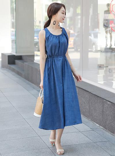 天然亚麻串长款连衣裙
