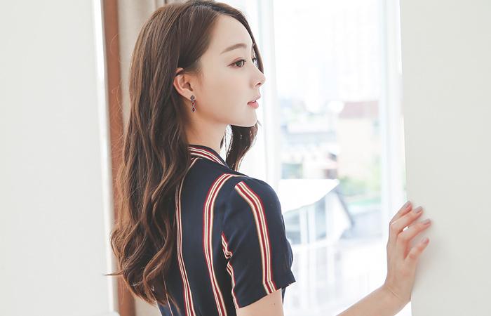 Lauren线条衬衫波浪群/喇叭裙连衣裙