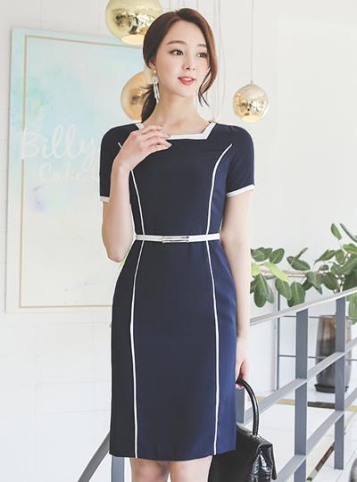 方领 线条 配色 束带 连衣裙