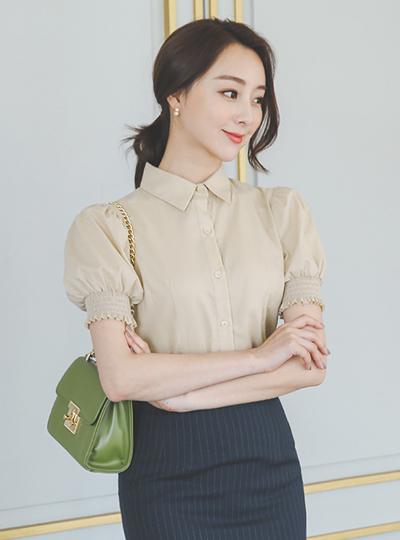 褶裥 泡泡袖 袖 开叉 棉 罩衫