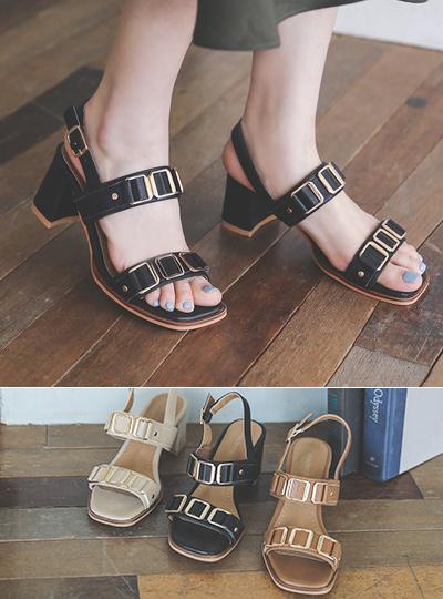 双石英 方形 皮条/束带 高跟凉鞋