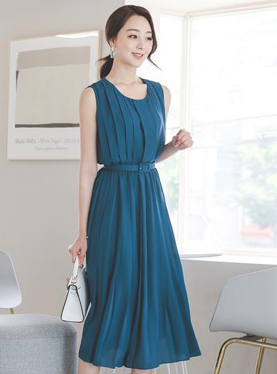 时髦的 曲线 褶边 腰带 连衣裙