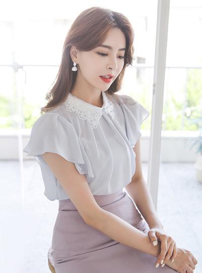 珍珠 镶钻 刺绣领子 荷叶边袖 罩衫