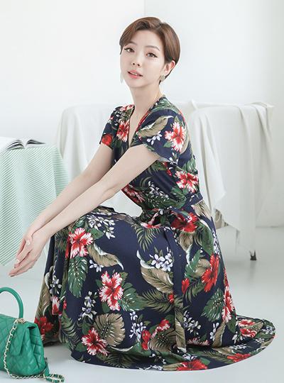 植物麻麻ラップレーア连衣裙