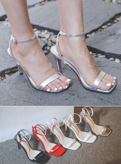 摩登 方形 漆皮 高跟凉鞋