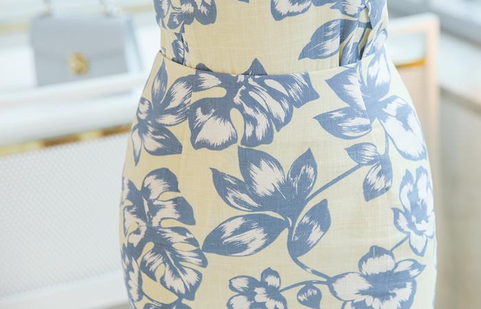 亚麻 质地 花纹 印染 裙子