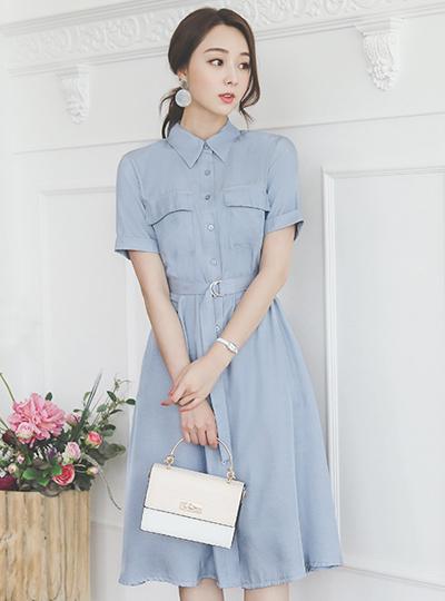 缎子 领子衬衫 束带 喇叭 连衣裙