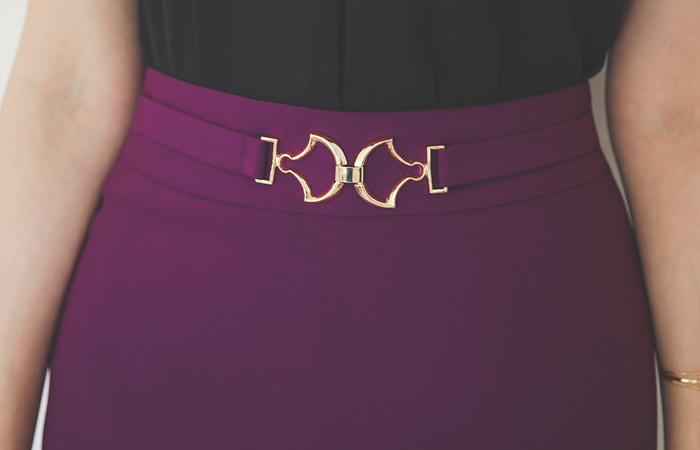 金色带扣 扣带 H字型 弹力 裙子