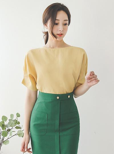 简单 袖子细褶 亚麻 罩衫
