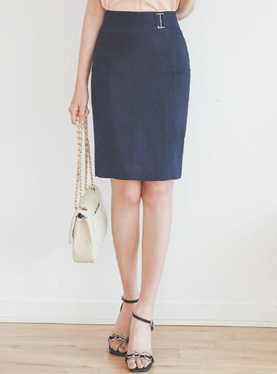 亚麻手感银色扣环 H字型 裙子