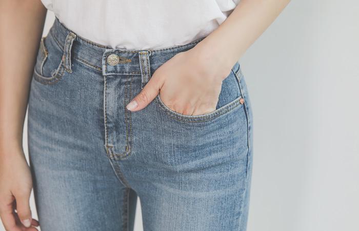 冰复古水洗简单裁剪紧身牛仔裤