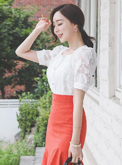 方领 玫瑰 珍珠 透明硬纱 罩衫