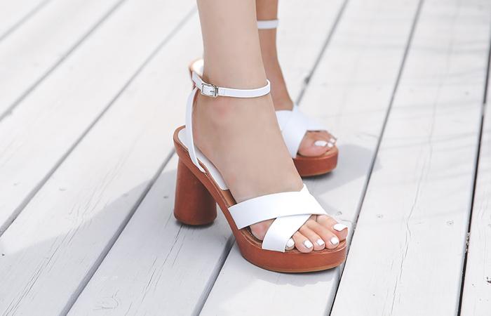 夏天 리얼 木头&牛皮 厚底凉鞋