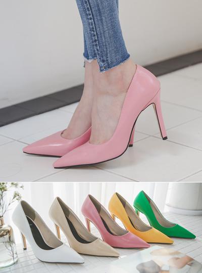 [模特穿36次]春季 颜色 简单 尖头高跟鞋
