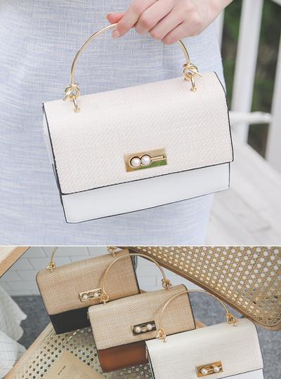 [模特穿36次]藤条 配色 珍珠 手提包