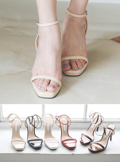漆皮 前跟 脚踝 皮条/束带 凉鞋