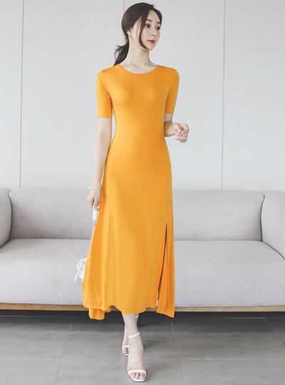 丝光触感 开衩 长款 喇叭 连衣裙