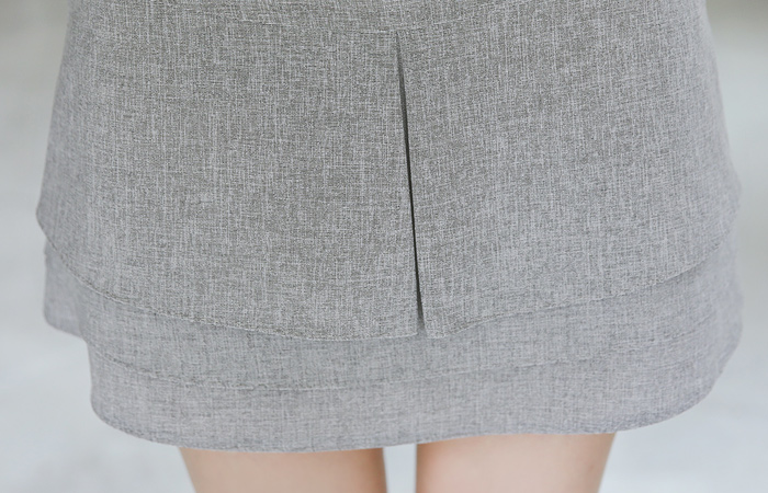 层褶裙 褶边 凉爽 迷你裙(内衬裤)