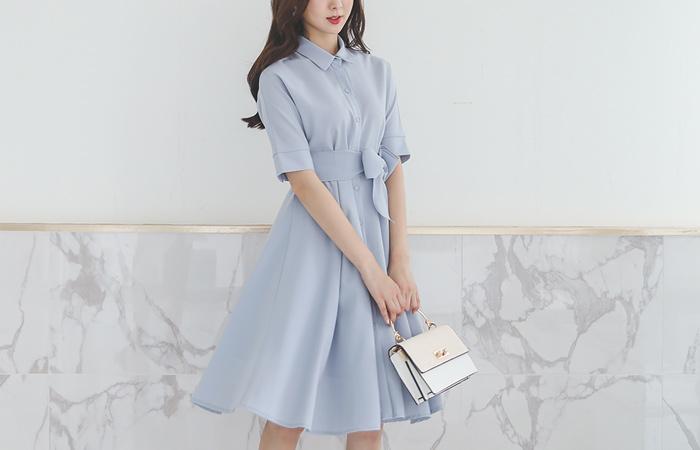 女性化的 衬衫 喇叭 连衣裙(绳腰带) Ⅱ